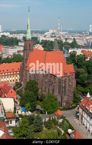Church of Holy Cross and St. Bartholomew, Ostrów Tumski island, Wroclaw, Poland, Europe - Stock Photo