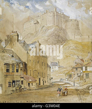 Horatio McCulloch - Edinburgh Castle from the Foot of the Vennel, 1845 - Stock Photo