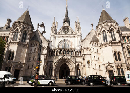 External of the Royal Courts of Justice in Fleet Street, London, England, United Kingdom, Europe - Stock Photo