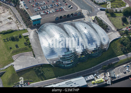 An aerial view of Sage Gateshead. - Stock Photo