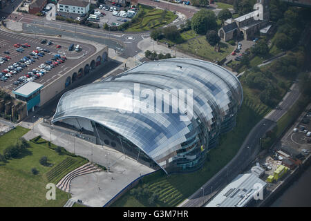 An aerial view of Sage Gateshead - Stock Photo