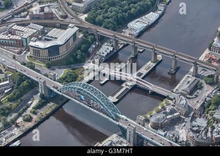 An aerial view of bridges across the River Tyne, Newcastle upon Tyne - Stock Photo
