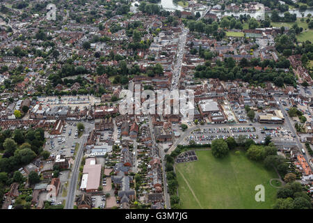 An aerial view of the town centre of Marlow, Buckinghamshire - Stock Photo