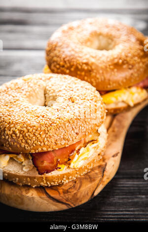 Bagel with bacon and egg - Stock Photo