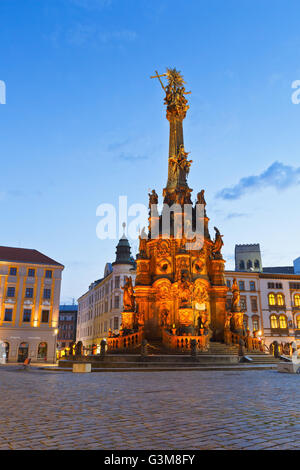 Holy Trinity Column in the main square of the old town of Olomouc, Czech Republic. - Stock Photo