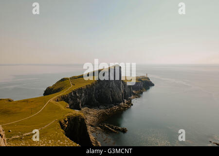 Neist Point and lighthouse in the summer, Isle of Skye, Scotland, Great Britain - Stock Photo