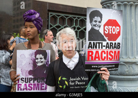 Detroit, Michigan, USA. 13th June, 2016. Supporters of Palestinian-American activist Rasmea Odeh rallied outside - Stock Photo