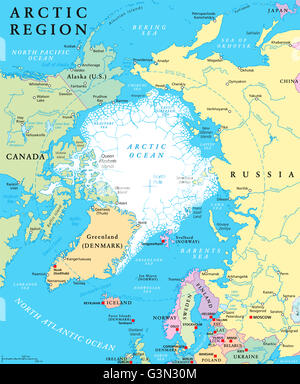 Arctic region countries and North Pole political map with national
