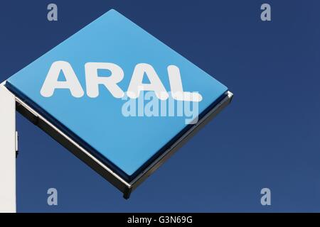 Aral sign on a panel - Stock Photo