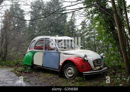 A battered Citroen 2CV stands by the side of a woodland road in the rain - Stock Photo