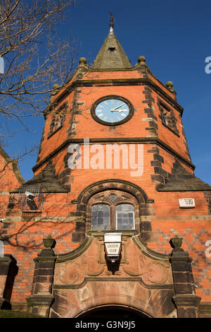 UK, England, Wirrall, Port Sunlight, Lyceum Club clock tower, (formerly village school) - Stock Photo
