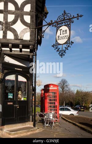 UK, England, Wirrall, Port Sunlight, k6 phone boxes outside old post office (now Tea Room) - Stock Photo