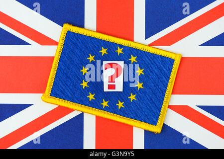 Flags of United Kingdom and the EU, British EU referendum - Stock Photo