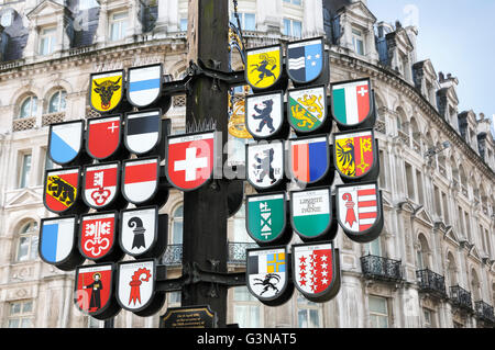 Cantonal Tree of Swiss cantons, Swiss Court, Leicester Square, London, England, UK - Stock Photo