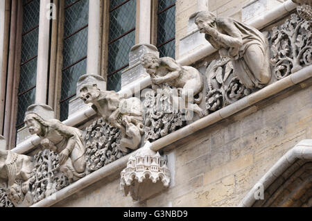 Gargoyles on facade of Notre Dame cathedral, Dijon, Côte d'Or departement, Burgundy, France, Europe - Stock Photo