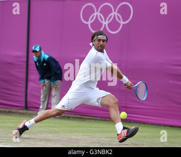 Marcos Baghdatis, CYP, AELTC, London 2012, Olympic Tennis Tournament, Olympics, Wimbledon, London, England, Great - Stock Photo