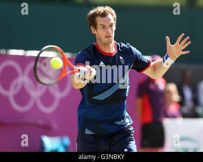Andy Murray, GBR, men's single finals, AELTC, London 2012, Olympic Tennis Tournament, Olympics, Wimbledon, London, - Stock Photo