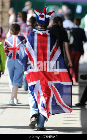 Fan swathed in a Union Jack, AELTC, London 2012, Olympic Tennis Tournament, Olympics, Wimbledon, London, England, - Stock Photo