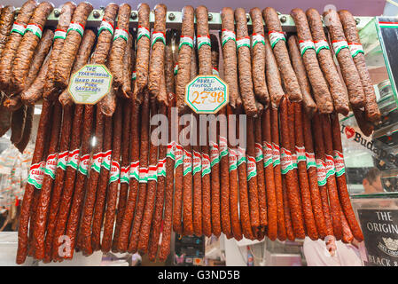 Hungary food sausage, Hungarian sausages for sale in the Great Market Hall in the Jozsefvaros area of Budapest, - Stock Photo