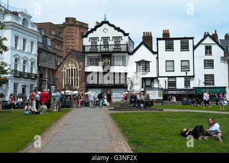 Exeter Capital city of Devon England UK Cathedral Yard - Stock Photo