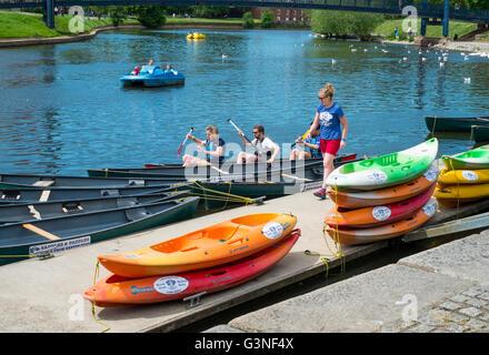 Exeter Capital city of Devon England UK The Quay Saddles and Paddles canoe hire - Stock Photo