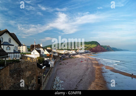 UK,Devon,Sidmouth Seafront and Coastline from Connaught Gardens - Stock Photo
