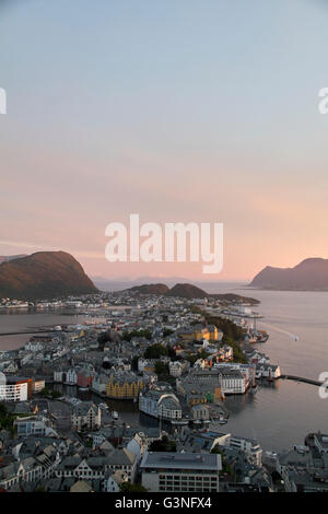City of Ålesund in Norway aerial view - Stock Photo