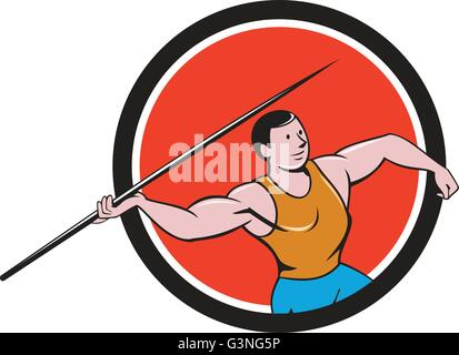 Illustration of a track and field athlete javelin throw viewed from side set inside circle on isolated background - Stock Photo