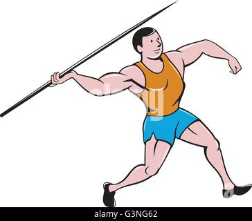 Illustration of a track and field athlete javelin throw viewed from side set on isolated white background done in - Stock Photo