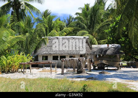 Hut made from coconut palm tree in the village, Christmas Island, Kiribati - Stock Photo