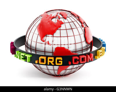 Domain extensions around the red globe. 3D illustration. - Stock Photo