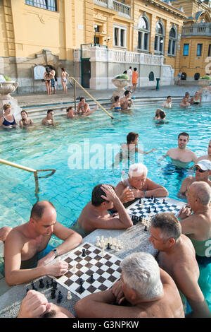 Men playing chess in swimming trunks as they sit in the healing mineral baths at Szechenyi Thermal Bath, Budapest, - Stock Photo