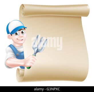 A cartoon gardener in a cap and blue dungarees holding a garden fork tool peeking around a scroll - Stock Photo