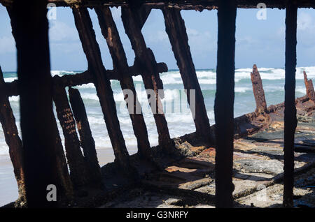 Details of the interior of the SS Maheno luxury shipwreck on clear blue sky - Stock Photo
