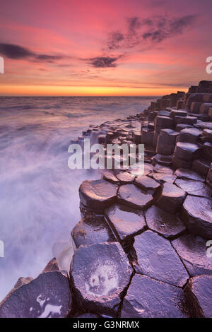 Sunset over the basalt rock formations of Giant's Causeway on the north coast of Northern Ireland. - Stock Photo