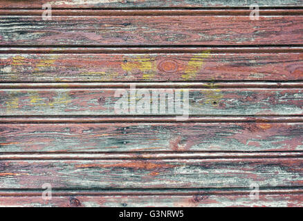 Old wooden planks texture with weathered paint - Stock Photo