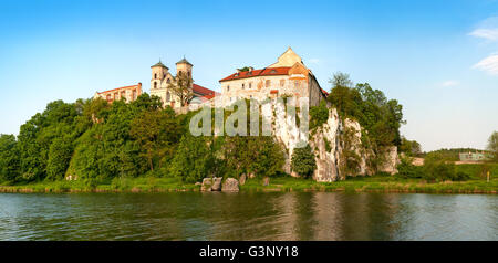 Panorama of Tyniec. Benedictine abbey and Saint Peter and Paul church on the rocky hill by the Vistula River near - Stock Photo