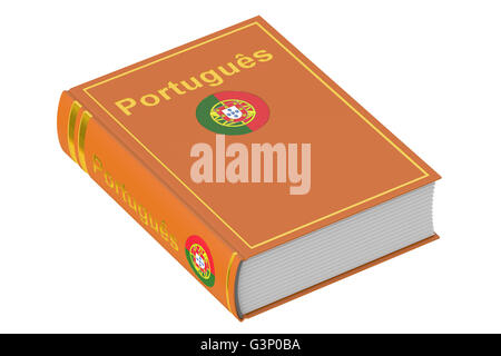 Portuguese language textbook, 3D rendering isolated on white background - Stock Photo