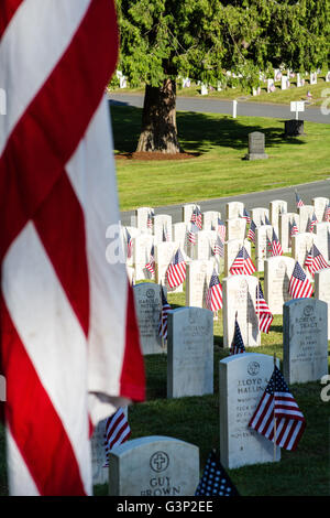 The flag flies over the markers of soldiers who gave the ultimate sacrifice - Stock Photo