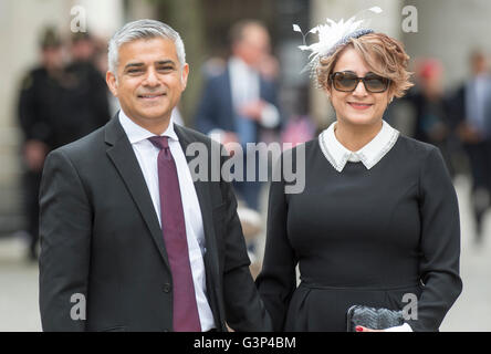 The Mayor of London Sadiq aman Khan and his wife Saadiya Khan attending H.M. The Queen's 90th birthday service at - Stock Photo