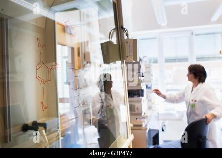 Sweden, Senior woman scientist working in lab - Stock Photo