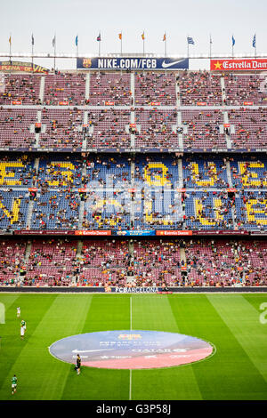 Spain, Barcelona, Camp Nou stadium during game - Stock Photo