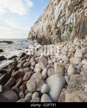 Denmark, Bornholm, Hasle, Jons Kapel, Rocky coastline - Stock Photo