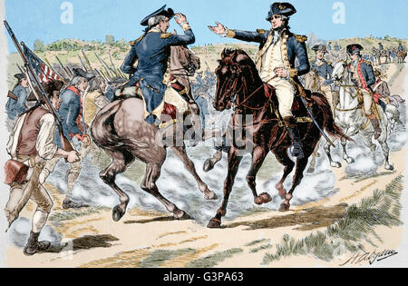 American Revolutionary War (1775-1783). Charles Lee (1732-1782), General of the Continental Army and George Washington - Stock Photo