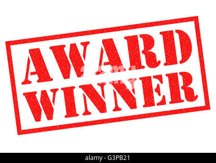 AWARD WINNER red Rubber Stamp over a white background. - Stock Photo