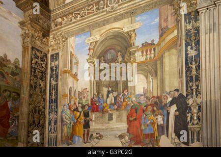 Dispute of St Thomas, by Filippino Lippi, Capella Carafa, Church of Santa Maria sopra Minerva, Rome, Lazio, Italy - Stock Photo