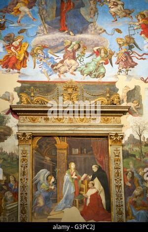 Annunciation, by Filippino Lippi, Capella Carafa, Church of Santa Maria sopra Minerva, Rome, Italy - Stock Photo