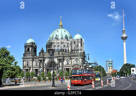 Berliner Dom ( Cathedral ) in front Lustgarten park in the background Fernsehturm TV Television Tower Mitte Berlin - Stock Photo