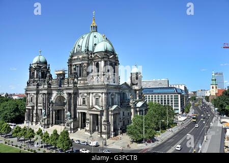 Berliner Dom ( Cathedral ) in front Lustgarten park  Mitte Berlin Germany - Stock Photo
