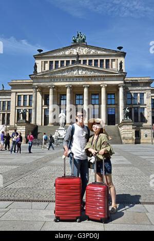 Berlin Franzosischer Dom French Cathedral  Gendarmenmarkt Konzerthaus Concert Hall Berlin Germany fountain Friedrich - Stock Photo